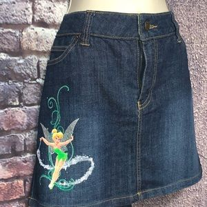 Disney Store Tinkerbell Tink Blue Jean Skirt